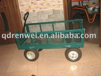 LARGE METAL 4 WHEEL GARDEN CART TROLLEY WITH DROP DOWN SIDES + PNEUMATIC TYRES