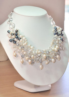 White and Grey Freshwater Pearl and Crystal Necklace