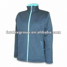 Latest style women's jacket of jersey bonded with high-tech polar fleece