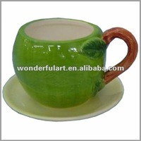 green apple shaped antique ceramic teapots