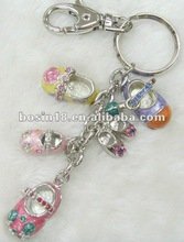 2012 fashion crystal and enamel shose charm keychain