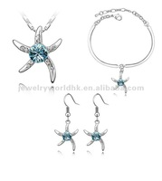 wedding decoration, Authentic Austrian blue crystal gold plated lovely starfish jewelry set wedding decoration