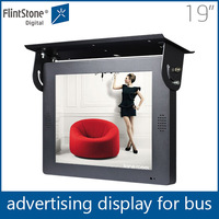 Flintstone 19 inch digital advertising tv for taxi/car, tft lcd color bus tv monitor, advertising lcd video display screen