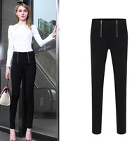 European women pure color zipper foot leisure black pants