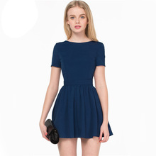 2014 Latest Designs Celebrate Clothing Women Dark Blue Short Sleeve Cut Out Back Skater Dress