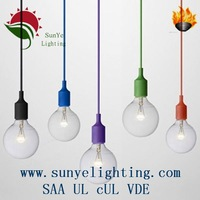 Australian vintage E27 drop lighting fittings use colorful braided wire/edison big bulb