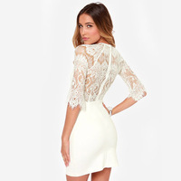 2015 New Fashion Women Sexy Slim Fitted Mini Half Sleeve Tight Lace Dresses for Wholesale Haoduoyi