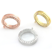 25mm or 30mm round shape silver and gold glass living memory floating locket