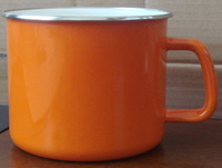 12cm carbon steel enamel printed enamel mugs with orange color