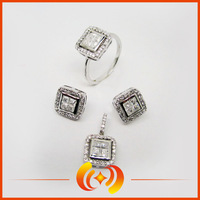 HF1245 wholesale 925 sterling silver micro pave cz stone jewelry set