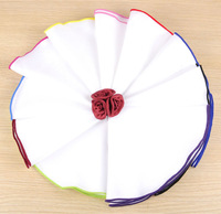 100% polyester white circle hanky with colorful embriodery edge