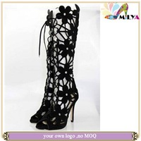 Top sexy women black lace high heel shoe lace boots summer boots sandals women hollow out suede leather high top boots!