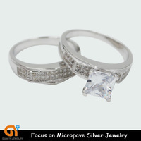 alibaba hot selling silver couple ring with diamond for couples