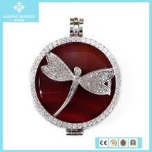 Top Quality Red Dragonfly 925 Sterling Silver Pendant Setting CZ Coin Bezel