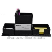 PU Leather Recycled Pen Holder Environmental Mobile Phone Stand Multilayer Office Desk Organizer Cheap Price RH6352P