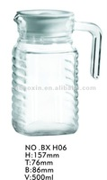 Old fashioned clear glass water pitcher/jar sets with handle 500ml(glass factory had passed FDA/EU/SGS)