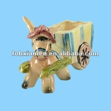 Decorative donkey ceramic small water container