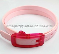 YJ-10023 kid's pink silicone resin buckle good smell belt