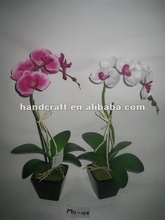 2012 New Design Hot Single Stems Artificial Orchid with Small Square Plastic Pot MH-018