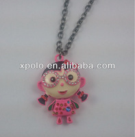 Yiwu XP Jewelry Factory Wholesale Pink Sweet Enamel Crystal Girl Necklace