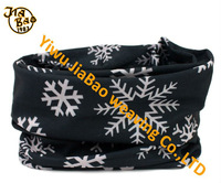 Cool black and white sport polyester headband with snowflake print