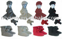 ladies's scarf,hat,glove set
