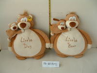 lovely promotional soft plush customized embroidered bear,dog shaped cushion(pillow) with plush baby toy