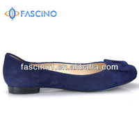 Ladies Suede Leather Navy Blue Flat Shoes