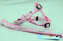 Stylish Fluorescence Light Pink Dog/Pet Harness and Leash with Ribbon
