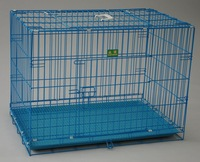 cheap with grill blue color foldable wire metal pet dog kennels crates price