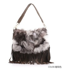 2012 elegant rabbit fur genuine leather lady handbag with tassels G7021