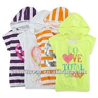 lightweight girls layered cotton jersey hoodie