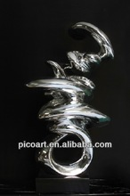 2013 new design abstract resin cast sculptures in silver plating color