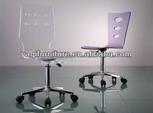 clear hollow out acrylic office chair with castors