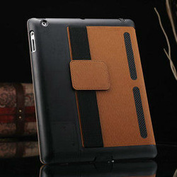 for apple ipad 2, wholesale brown pu leather case for apple ipad 2