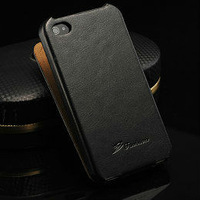 Crazy Horse Leather case For iPhone 4s 4g Top Flip Leather cover For iPhone 4s with fashion logo free gift 2014 hot top one