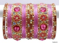 Indian bangles sets - metal bangles set - Bridal bangles chura set - indian wedding bangle - imitation artificial bangles