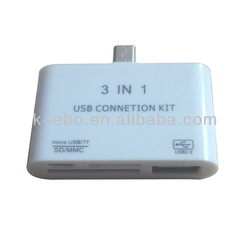 3 in 1 Micro usb card reader for smartphone and tablet