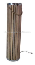Large natural wooden color cylinder style floor lamp