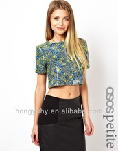 Girls tops design, crop tops wholesale women, beautiful pretty tops for ladies with short sleeve made in China 2014 OEM