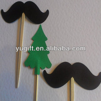 Hot!! mustushe cupcake toppers &food picks& toothpicks &cake decorations