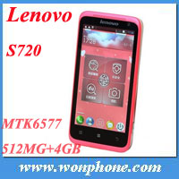 "Original lenovo S720 4.5"" IPS andorid 4.0 GPS WIFI 512 RAM 4GB ROM MTK6577 Dual core two camera Dual sim Girl phone"
