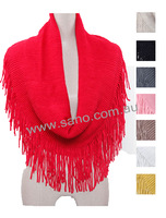 Fringe Circle Fashion Scarf with Tassel Ends