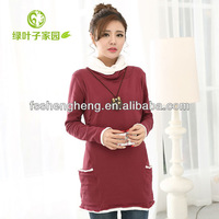 China factory wholesale cotton long office maternity clothing high neck wine green outdoor breastfeeding wear AK133