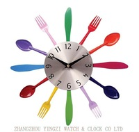 Colorful knives and forks clocks wall clock 2014