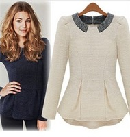 2014 latest fashion European style temperanment cotton lovely shining neck long sleeve sweater