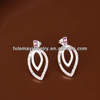 FASHION double leaf loop shaped wholesale indian crystal silver earring FE373