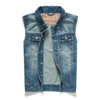 2014 new design urban denim vest with high quality