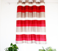 250*145cm polyester stripes window curtain panels / polyester yarn dyed color cheap curtain set