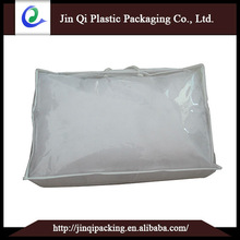 Common ordinary transparent PVC Quilt Cover and 70g white woven edging stitching zipper, carry hand rope